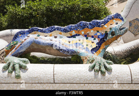 Mosaic lizard in park Guell - Stock Photo