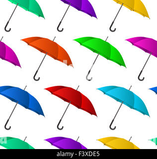 Seamless colorful umbrellas background - Stock Photo