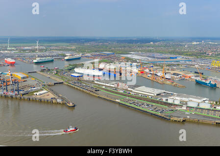aerial view of container port bremerhaven freighters. Black Bedroom Furniture Sets. Home Design Ideas