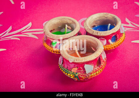 indian decorative candle pot - Stock Photo