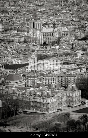 Black & White Paris rooftops from above with Luxembourg Garden and Notre Dame Cathedral. Left Bank, Ile de France, - Stock Photo