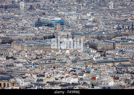 Paris aerial view, rooftops of the 4th arrondissement, Ile de la Cite, Tour Saint Jacques and Centre Georges Pompidou, - Stock Photo