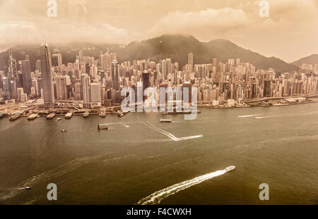 Vintage image of Hong Kong from above. - Stock Photo