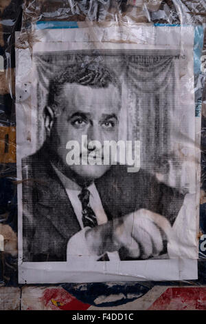 An old photo of Gamal Abdel Nasser Hussein who was the second President of Egypt and the leader of the Egyptian - Stock Photo