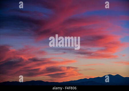 Colorful sunset scenic over the Oquirrh Mountains in Utah. - Stock Photo