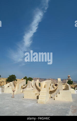 Weird architecture of the observatory Jantar Mantar with astronomical instruments in Rajasthan. Built in 1738. - Stock Photo