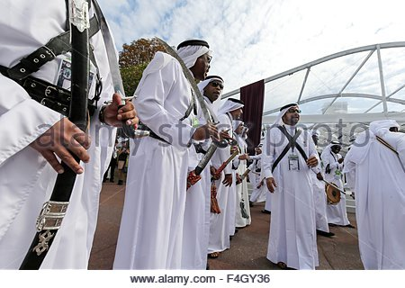 Paris, France. October 3rd, 2015. FRANCE, Paris: Qatari traditional outfits are seen during 94th Prix de l'Arc de - Stock Photo