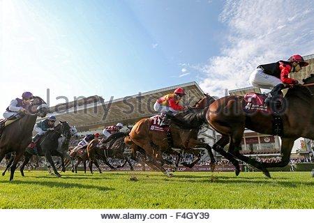 Paris, France. October 3rd, 2015. FRANCE, Paris: Jockeys get on horses for Qatar Grand Handicap des Milers during - Stock Photo