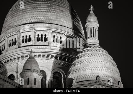 Detail of the Domes of Sacré Coeur Basilica (Basilica of the Sacred Heart) at night, Montmartre, 18th, Paris, France - Stock Photo