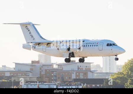 London City Airport aircraft, Docklands, London, England, U.K. - Stock Photo