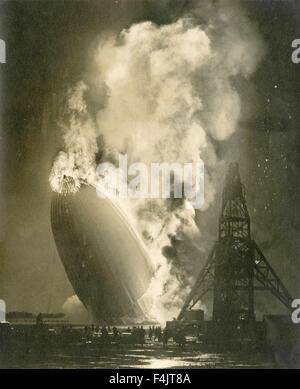 Disaster of the Hindenburg airship - Stock Photo