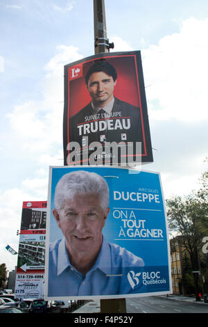 Canadian Prime Minister Justin Trudeau's campaign posters in Montreal, Quebec - Stock Photo