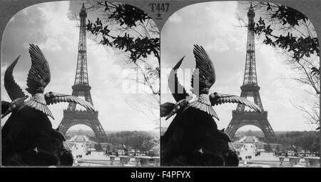 Eiffel Tower and Champs de Mars from the Trocadero Palace, Paris, France, Keystone View Company, Stereo Card circa - Stock Photo