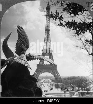 Eiffel Tower and Champs de Mars from the Trocadero Palace Paris France Keystone View Company Single Image of Stereo - Stock Photo