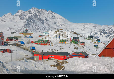 Colorful houses in winter time in Greenland - Stock Photo