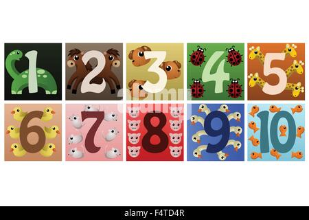 A vector illustration of a set of numbers with cute animals - Stock Photo