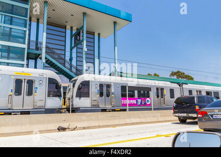 The Los Angeles Metro Rail at Sierra Madre Ave. in Pasadena California - Stock Photo