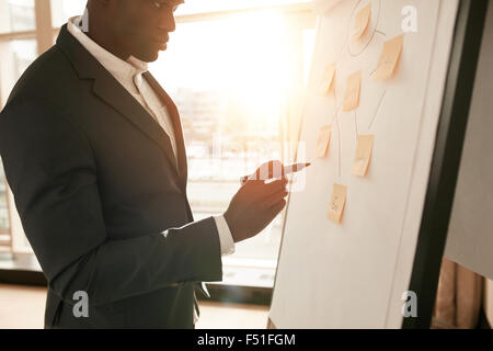 Cropped shot of businessman presenting his ideas on white board. Business executive with marker pen writing in flipchart - Stock Photo