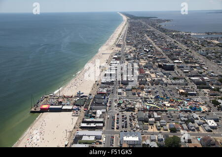 Aerial view of Point Pleasant Beach, New Jersey (facing South) - Stock Photo
