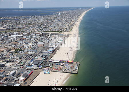 Aerial view of Point Pleasant Beach, New Jersey (facing North) - Stock Photo