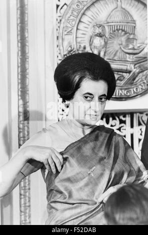 Indian Prime Minister Indira Gandhi at the National Press Club March 29, 1966 in Washington, D.C. - Stock Photo