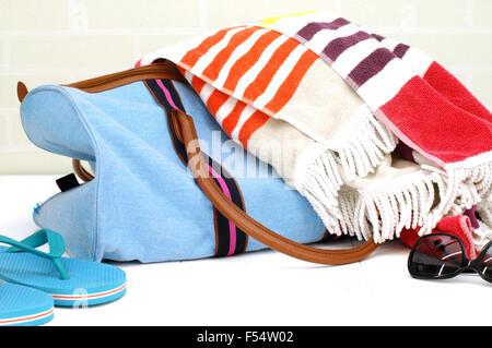 A close up shot of an beach bag - Stock Photo