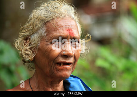 Old Tamil lady with traditional dress - Stock Photo