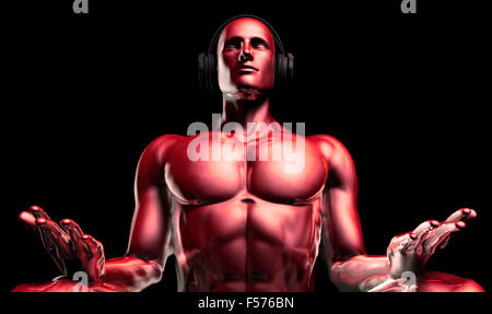Man with Headphones Listening to Music Meditating in 3d - Stock Photo