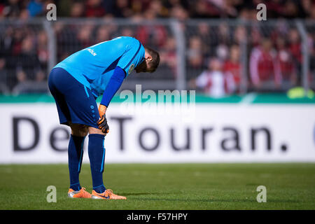 Cologne, Germany. 28th Oct, 2015. Koeln's goalkeeper Nico-Stephano Pellatz reacts at the DFB Cup match between Viktoria - Stock Photo