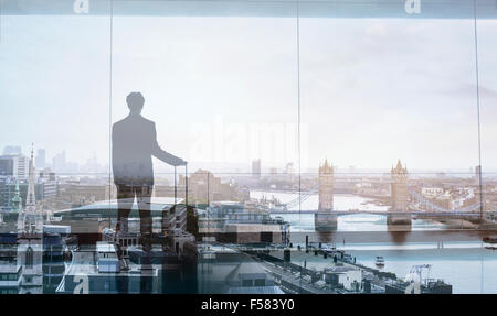 double exposure view of abstract business traveler - Stock Photo