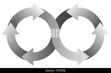 Infinity symbol with gray arrows. - Stock Photo