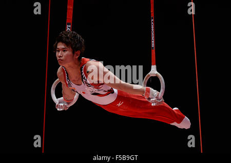 Glasgow, UK. 30th Oct, 2015. KAYA KAZUMA from Japan competes on the rings during the men's All-Around Finals of - Stock Photo