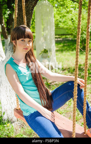 one young girl in the park - Stockfoto