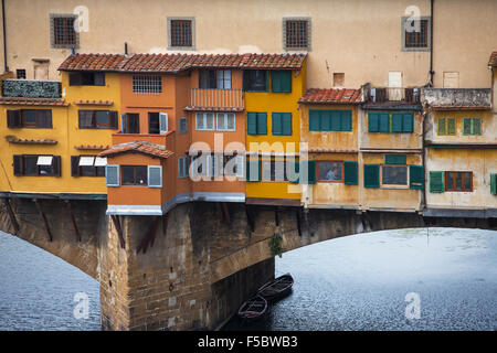 View of Gold (Ponte Vecchio) Bridge in Florence. Close up balcony. Detail - Stock Photo