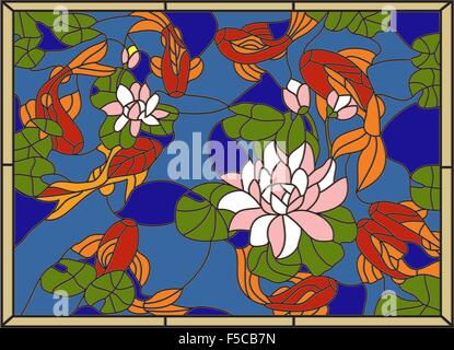 Stained glass window with fish on the background of flowers and leaves.Vector - Stock Photo