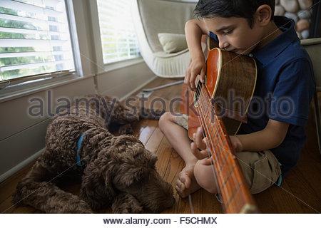 Dog sleeping next to boy playing guitar - Stock Photo