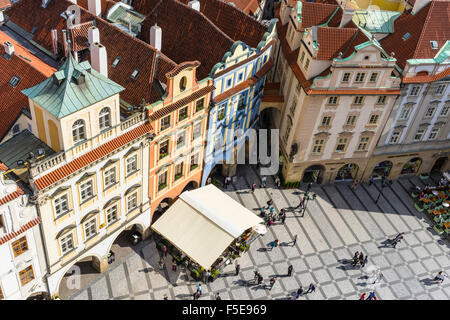 High angle view of buildings in Old Town Square, UNESCO World Heritage Site, Prague, Czech Republic, Europe - Stock Photo