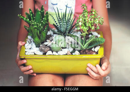 Girl sitting, holding a display of succulent plants - Stock Photo