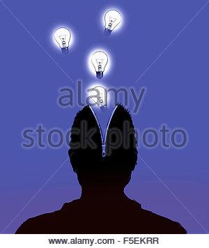 Light bulbs emerging from open zipper in man's head - Stockfoto