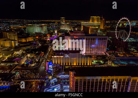 Las Vegas, Nevada at Night, from the Eiffel Tower. - Stock Photo