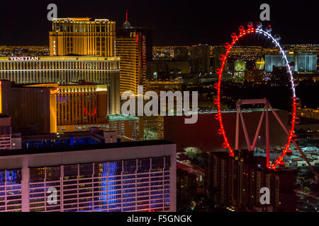 Las Vegas, Nevada at Night.  The High Roller as seen from the Eiffel Tower. - Stock Photo