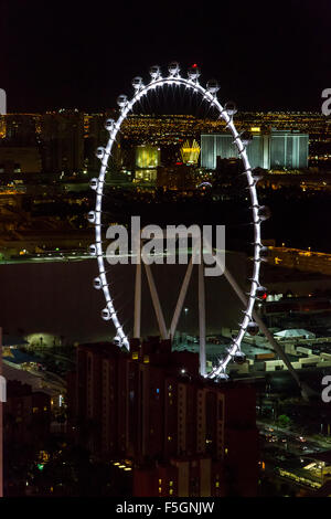 Las Vegas, Nevada at Night, The High Roller from the Eiffel Tower. - Stock Photo