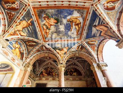 Frescoes of Buonconsiglio, ancient castle in Trento - Stock Photo