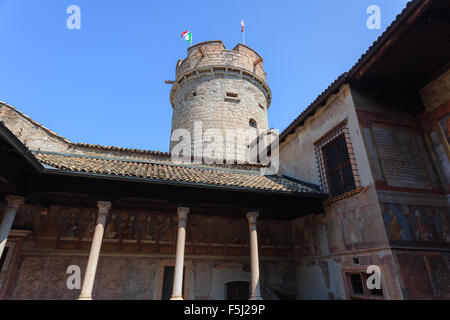 Medieval castle of Buonconsiglio in Trento with tower and frescoes - Stock Photo