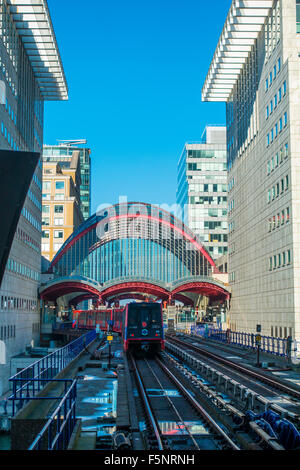 DLR Docklands Light Railway Canary Wharf Station London - Stock Photo
