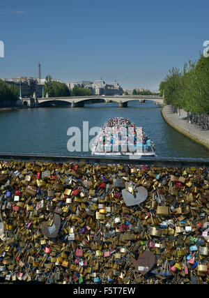Bridge of Locks, Paris,France,Pont de arts,Love,French,Padlocks,Brass, - Stock Photo