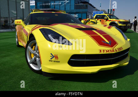 Dubai, UAE. 10th November, 2015. Hot Rod: Dubai Civil Defence are using a brght yellow V8-powered Chevrolet Corvette - Stock Photo
