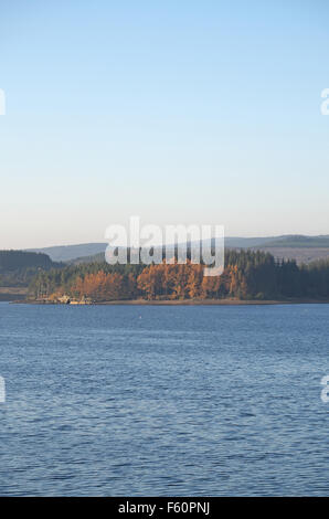 View north west over Kielder Water towards The Belling from near the dam on an autumn evening, Northumberland, England, - Stock Photo