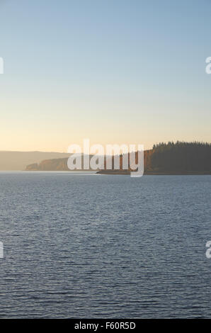 View west over Kielder Water towards The Belling from near the dam on an autumn evening, Northumberland, England, - Stock Photo