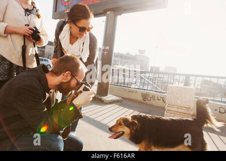 Friends photographing dog on bridge in city - Stock Photo